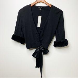 LAFAYETTE 148 NY Black Cashmere Silk Cardigan NWT